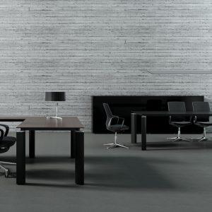 Riaditeľský nábytok Crystal - pracovné miesto - čierne prevedenie